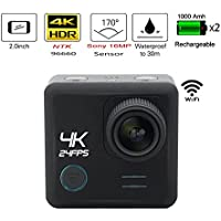 Egovo 64GB 4K Action Camera 16MP with Sony Sensor, UHD WIFI Waterproof Sports Video Cam 2-Inch (2 Batteries + 23 Free Accessories)