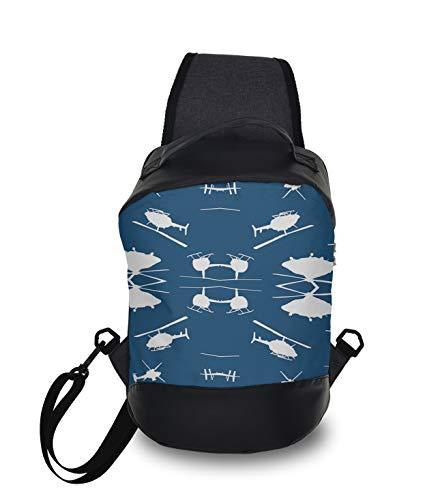 Men & Women Sling Shoulder Backpack Travel Backpack Camping Outdoor Bag - Helicopter Silhouettes Blue Anti-Theft Multipurpose Bookbag, Unbalance Shoulder Chest Crossbody Bag