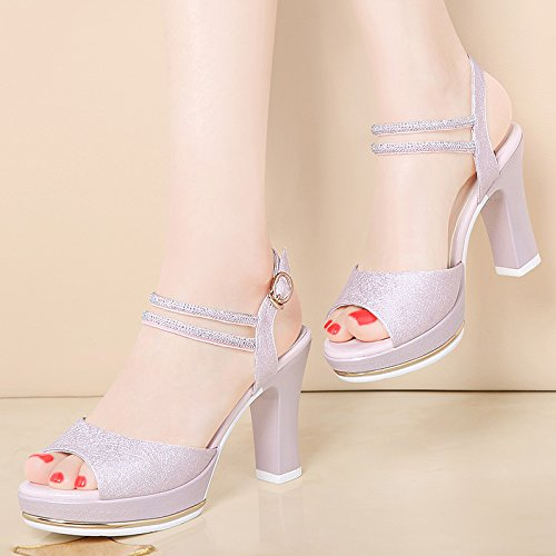 KHSKX-9Cm High Pressure Waterproof Table Shoes In The Summer Fish Mouth Thick With Female Sandals High-Heeled Waterproof Table Shoes Thirty-seven Zq7okV
