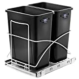 Home Zone Living VK40265U 29 Liter / 7.6 Gallon Pull-Out Trash Can, Under The Counter, Dual Bins, Double, Black