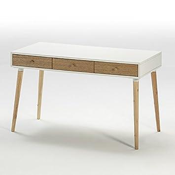 Schreibtisch holz natur  Tn Schreibtisch 120 x 55 x 74 Holz Natur/MDF weiß: Amazon.de: Küche ...