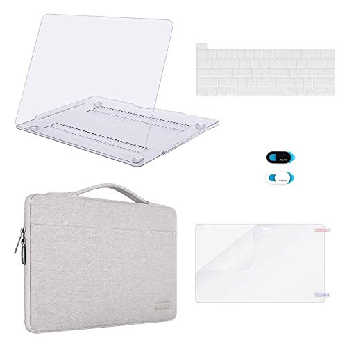 MOSISO MacBook Pro 16 inch Case 2020 2019 Release A2141, Plastic Hard Shell &Sleeve Bag&Keyboard Cover &Webcam Cover &Screen Protector Compatible with MacBook Pro 16 inch with Touch Bar, Clear&Gray