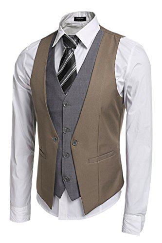 Zeagoo Coofandy Men's V-Neck Sleeveless Slim Fit Jacket Business Suit Vests, Khaki, ()