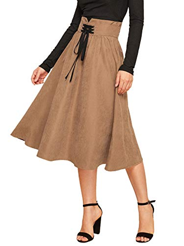 Floerns Women's Pleated Lace Up High Waist Knee Length A Line Midi Skirt Brown L