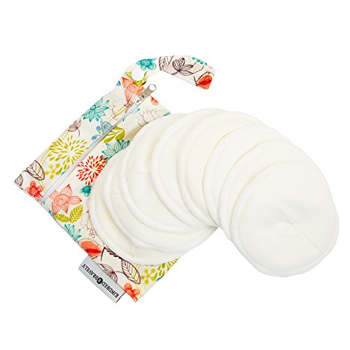 Washable Organic Nursing Pads (8 Pack) | Contoured Reusable Breast / Breastfeeding Pads with Carry Bag