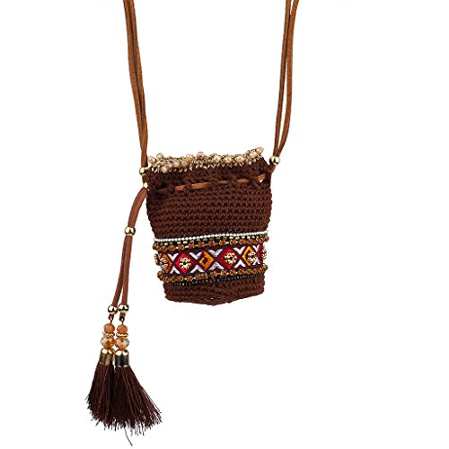 Lux Accessories Brown/Red Multi Navajo Pouch Necklace
