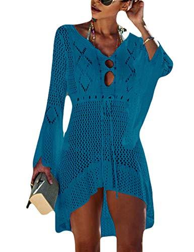 Ailunsnika Women Sexy Knitted Crochet Irregular Tunic Beach Dress Casual Hollow Short Swimwear Cover Up Peacock Blue
