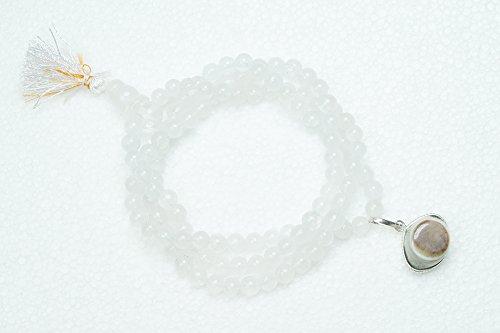 Collier Blanc Moonstone Malabeads SHIVA TROISIÈME EYE PENDENTIF Prière Perle Mala Avec ANCÊTRES GRATUIT CULTE Yantra