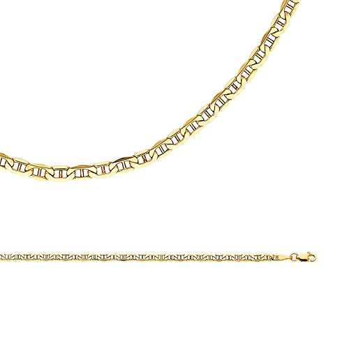 Mariner Necklace Solid 14k Yellow Gold Anchor Chain Hollow Bevelled Links Genuine , 3.5 mm - 24 (14k Yellow Gold Anchor Chain)
