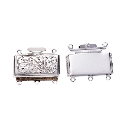 Pandahall 2pcs Brass Silver Multi-strand Box Clasps, 3-strand Rectangle Filigree Clasps, Jewelry Findings, Nickel Free, 21x23x5mm; hole: 1.5mm (Strand Sterling Box Clasp 3)