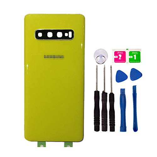 (Replacement Rear Housing Battery Back Door Cover for Samsung Galaxy S10 Plus SM-G9750 6.44 inch with Adhesive Preinstalled Repair Part Outer Glass Case (with Camera Lens Cover) (Yellow))
