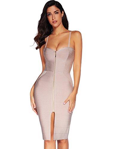 Bodycon Pencil Dress Strap Women's Bandage Beige Meilun Zip Mini Front qRfwv