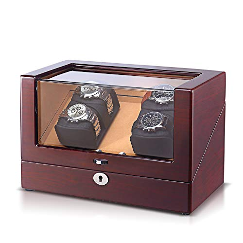 (OLYMBROS 4 Watch Winder Storage Boxes for Automatic Watches with LED Light Wood Shell Piano Paint Exterior and Extremely Silent Motor)