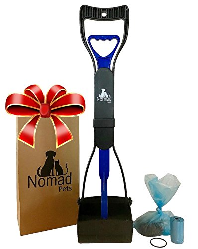 Complete Pooper Scooper Gift Set for Dogs with Large Poop Bags Included - Best for Small, Medium, Large, XL Pets - Long Handle Scoop - Portable and Heavy Duty - Great in Grass and Cement from Nomad Pets