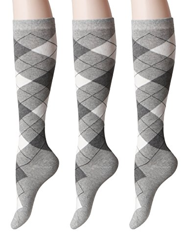 OSABASA Womens Argyle Pattern Knee High Socks 3Pairs 1 Set Pack with Multi Colors GRAY Asia M (SET3KWMS073)
