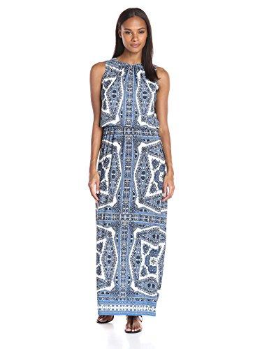London Times Women's Paisly Medallion Sleeveless Blousson Maxi Dress, Blue, 2