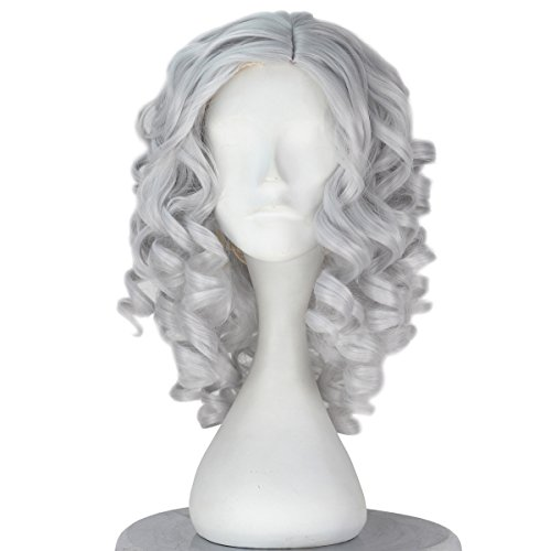 Women Girl Short Curly Hair Halloween Cosplay Costume Wig Party Adult Kids (Silver Grey)