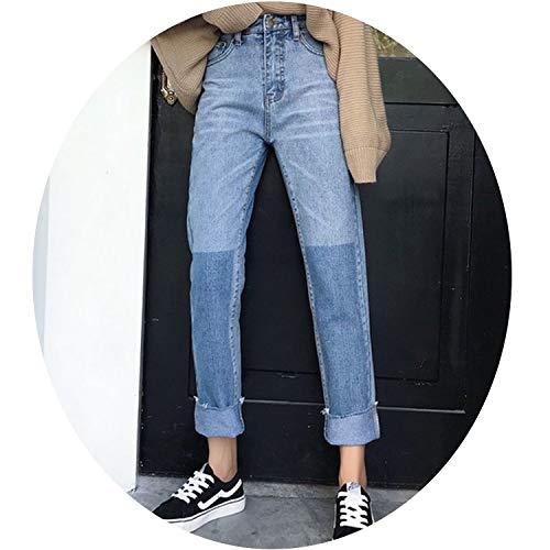 Cuffs Vintage Jeans Women Panelled Korean Straight Denim Pants High Street Loose Warm Jean Trousers,Blue,M