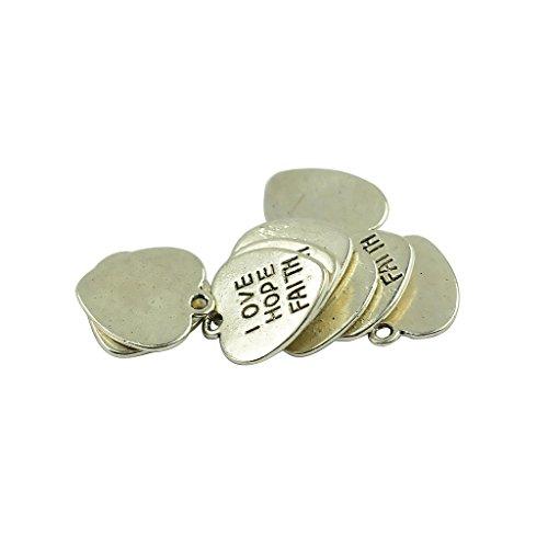 Heart Faith Charm Hope Love - MonkeyJack 50 Pieces LOVE HOPE FAITH Letter Heart DIY Charms Pendants Antique Silver