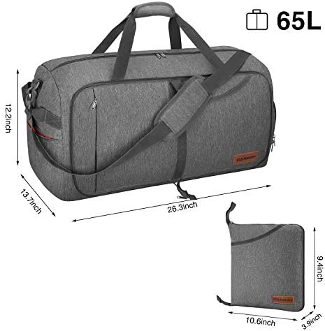 65L Foldable Travel Duffel Bag Lightweight Weekender Luggage Bag with Shoes Compartment