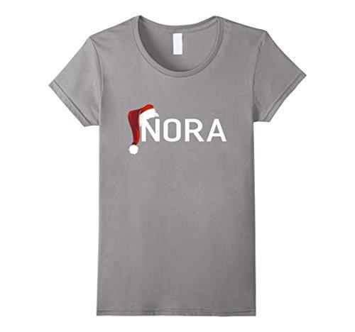 Nora Santa (Womens My Personalized Christmas Santa Hat Name Nora T-shirt XL Slate)