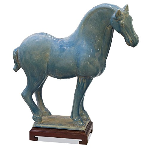 ChinaFurnitureOnline Tang Dynasty Ceramic Horse, Blue