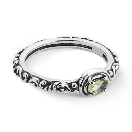 Carolyn Pollack Sterling Silver Green Peridot Gemstone Single Oval Stone Ring Size 8 ()