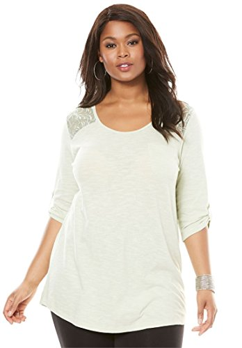 504b227a864 Roamans Women s Plus Size Cotton Slub Lace Tunic