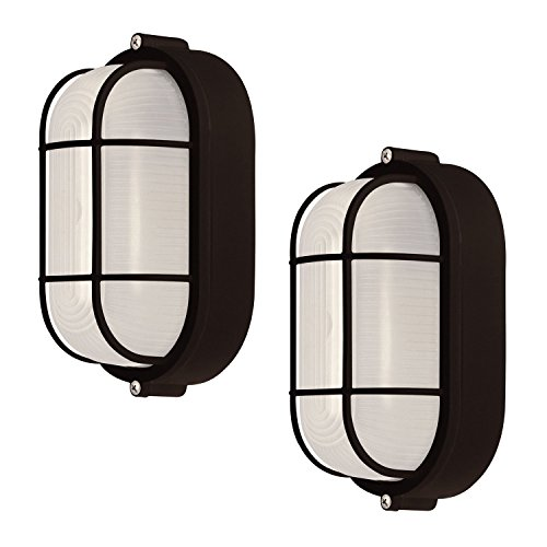 2 Pack Weatherproof Bulkhead Oval Flushmount Exterior Light for Wet Locations, Black ()