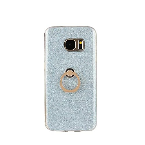 Luxury Bling Sparkle Style Case, Soft TPU [Silicone] Flexible Glitter Back Cover [Anti Scratch] with Fingerring Stand for Samsung Galaxy S7 Plus ( Color : White ) Blue