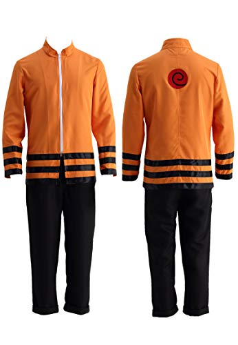 OURCOSPLAY Thev Movie Uzumaki Naruto Boruto Halloween Cosplay Costume 2Pcs Coat and Pants (Men US XXXL) -