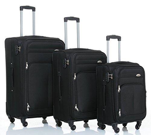 8005 3tlg. 4 Rollen Reisekofferset Stoffkoffer Gepäckset Koffer Trolley Reisekoffer (Schwarz)