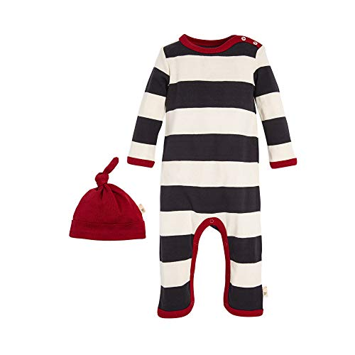 Burt's Bees Baby Baby Romper and Hat, One Piece Jumpsuit and Beanie Set, 100% Organic Cotton, zinc Rugby Stripe, 0-3 Months