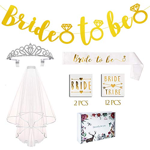KeaParty Bachelorette Party Decorations - Bride to Be Sash and Veil Kit - Bachelorette Party Favors, Bride to Be Banner, Rhinestone Tiara, Bride Tribe Tattoos