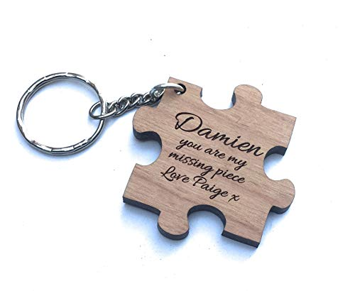 """Personalised""""You are My Missing Piece"""" Jigsaw Keyring – Perfect Wedding,Anniversary and Valentines Gift"""