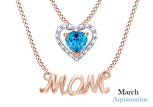 (Mothers Day Jewelry Gifts Simulated Aquamarine & White Diamond Accent MOM Double Strand Pendant Necklace in 925 Rose Gold Over Sterling)