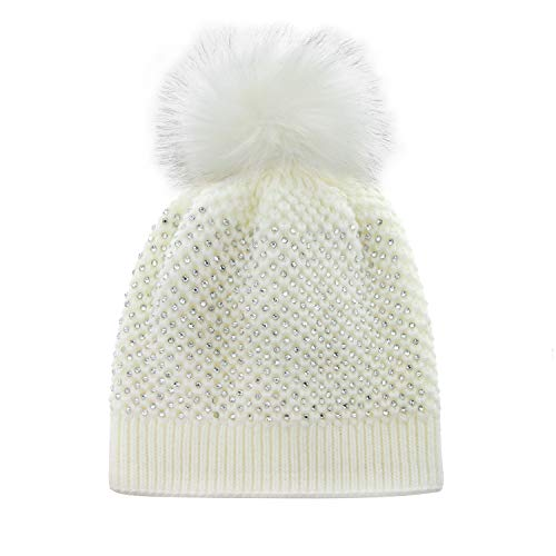 (Snuggly Knit Winter Beanie with Pom Pom Embellished with Clear Rhinestones in White)