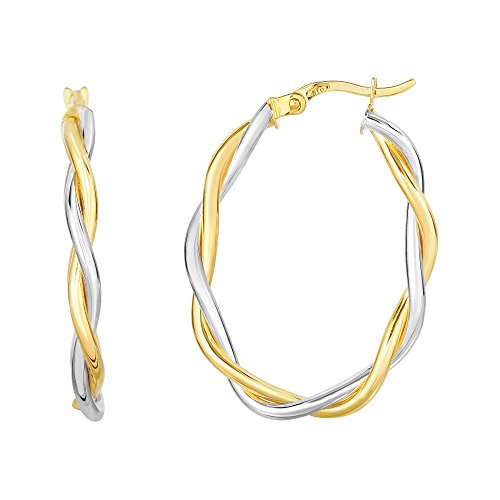 Or blanc 10 carats Jaune + 26 x 17 x 3 mm brillant Twisted Dou BLE fils Extra Light ovale Boucles d'oreilles créoles
