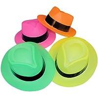Neon Color Plastic Gangster Hats (12 Pack)