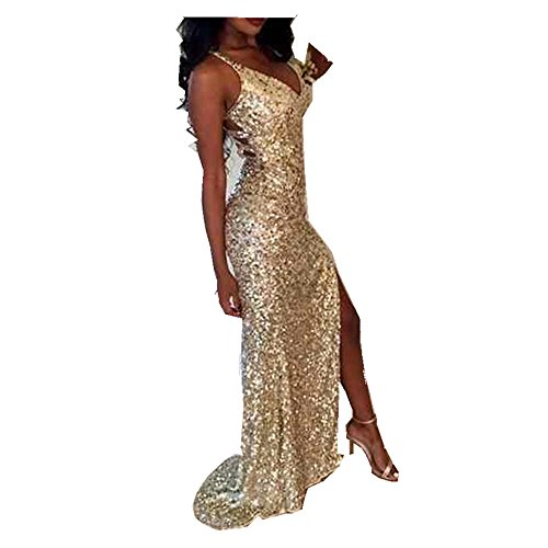 Uryouthstyle Sequins V-Neck Prom Dresses Sparkly Split Bridesmaid Gowns US18w (Gold Prom Gown)