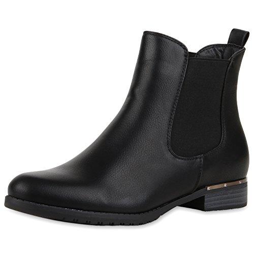 napoli-fashion Damen Stiefeletten Flache Chelsea Boots Leder-Optik Schuhe Gr. 36-41 Jennika Schwarz Glatt