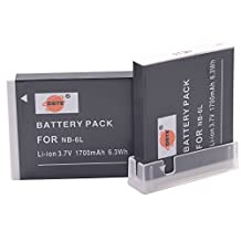 DSTE® 2x NB-6L Replacement Li-ion Battery for Canon SX170 SX500 S120 SD3500 SD4000 IS SX275 SX510 SX600 SX610 SX710 HS D10 D20 ELPH 500 HS Cameras as CB-2LY