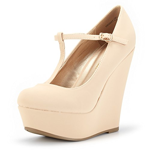 - DREAM PAIRS Wedge-Height Nude Nubuck Mary Jane Platform Wedges Shoes for Women Size 9 B(M) US