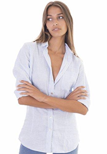 CAMIXA Women's 100% Linen Casual Shirt Slim Fit Button-Down Airy Basic Blouse M Azure White