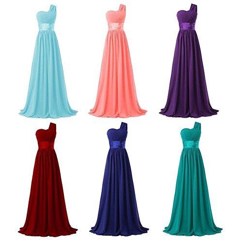 Loel Women's One Shoulder Chiffon Long Evening Dress Floor Length Trailing Bridesmaid Dress