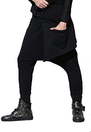 ELLAZHU Men Winter Baggy Elastic Waist Solid Harem Pants Onesize GYM25 - Solid Baggy Pant
