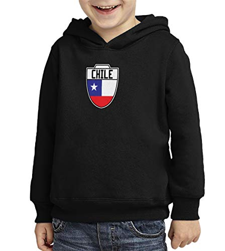 Chile - Country Soccer Crest Toddler/Youth Fleece Hoodie (Black, X-Large (Youth))