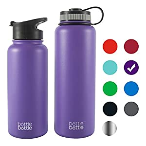 Bottlebottle 40 oz Insulated Stainless Steel Water Bottle with Bonus Lid, Double Wall Vacuum Sealed Flask, Wide Mouth, BPA Free, Cold 24 Hrs / Hot 12 Hrs - Wisteria Purple