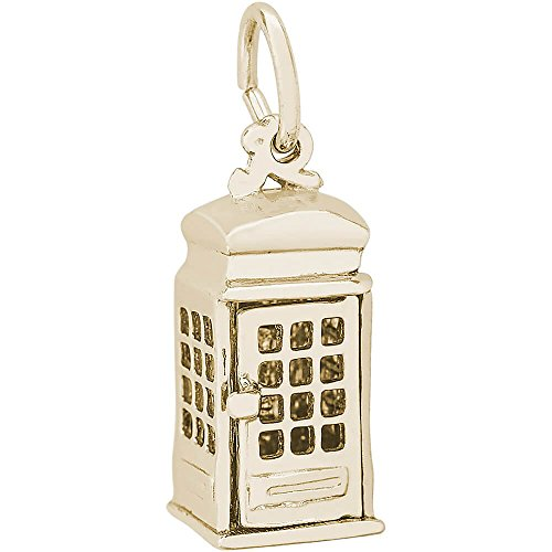 Gold Sterling Silver Brooch (Rembrandt Charms, Phone Booth / TARDIS, 22k Yellow Gold Plate on .925 Sterling Silver)