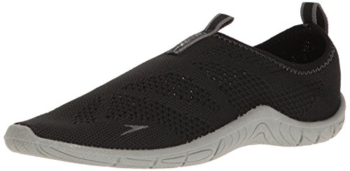 Speedo Women's Surf Knit Athletic Water Shoe, Black/Neutral Grey, 8 C/D US